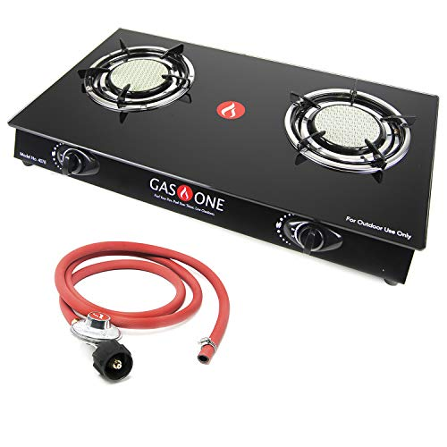GasOne 4078 One Gas Range Stove Ceramic Head with Propane Regulator-2 Burner Glass Cooktop Auto Ignition