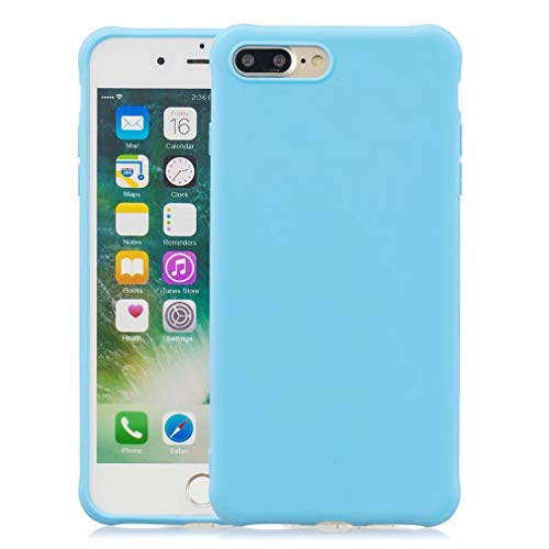 Qsdd Reemplazo para iPhone 7 Plus/iPhone 8 Plus Funda Ultra Thin Anti Scratch Carcasa de Telefono Soft TPU Silicone Anti-Huella Digital Anticaída a Prueba de Golpes Caso-Azul