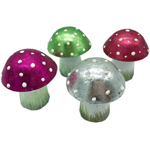 Pape Kunstgewerbe 4 neon Fliegenpilze Pilze aus Metall handbemalt je 6 cm als Figuren Deko zum Aufstellen in pink Silber rot grün
