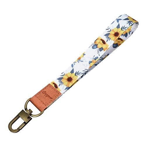 Supgear Sunflower Wristlet Strap for Key, Hand Wrist Lanyard Key Chain Holder Wristlet Keychain for Key, Mobile Phone, Card Holders and ID Badges for Women Girls