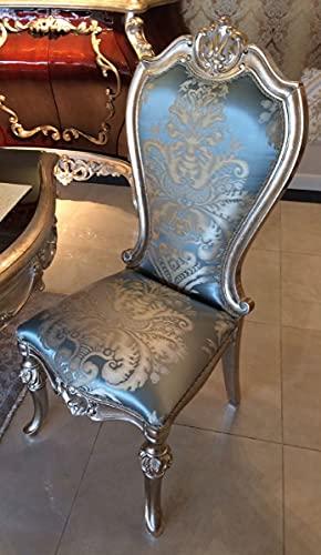 Casa Padrino Silla de Comedor Barroco de Lujo Azul Claro/Beige/Plata - Magnífica Silla de Cocina de Madera Maciza con patrón Elegante - Muebles de Comedor barrocos