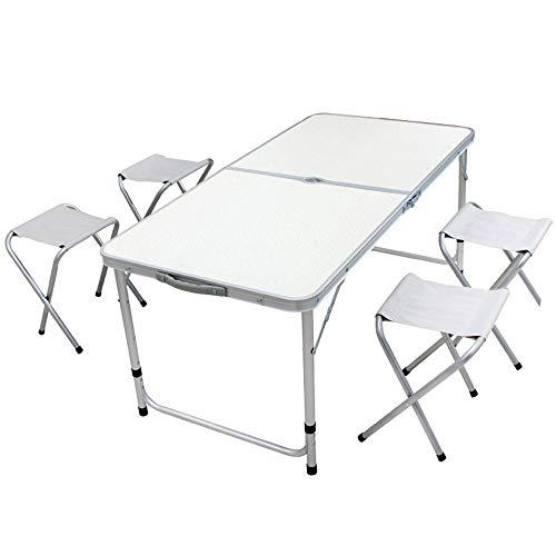 WANGY Mesa de Picnic Plegable Ajustable, Mesa de Picnic portátil Ajustable de Altura de Aluminio con 4 taburetes para Barbacoa al Aire Libre/de Picnic/mesas de Pesca y sillas