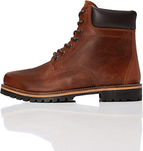 Marca Amazon - find. Botas de Cordones para Hombre, Marrón (Tan), 42 EU