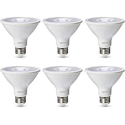 AmazonBasics Commercial Grade 25,000 Hour LED Light Bulb | 75-Watt Equivalent, PAR30S, 3000K White, Dimmable, 6-Pack
