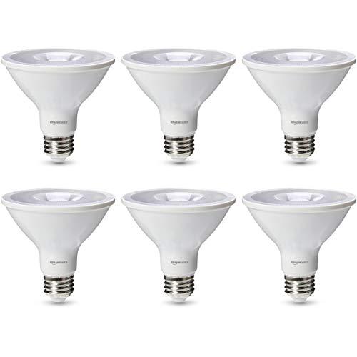 AmazonBasics Commercial Grade LED Light Bulb | 75-Watt Equivalent, PAR30S, Cool White, Dimmable, 6-Pack