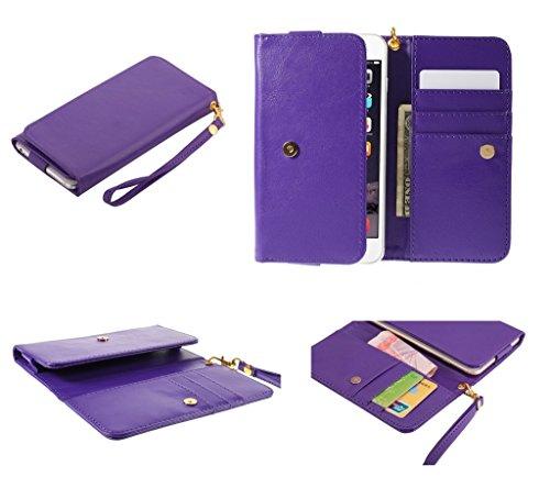 DFVmobile - Etui Tasche Schutzhülle aus Kunstleder Pferden-Leder-Mappen-Kasten mit Kartenfächer für JIAYU G2F - Violett