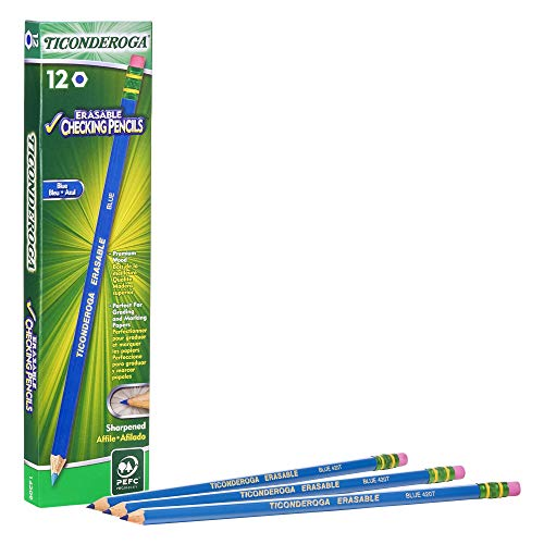 TICONDEROGA Erasable Checking Pencils, Pre-Sharpened with Eraser, Blue, Pack of 12 (14209)