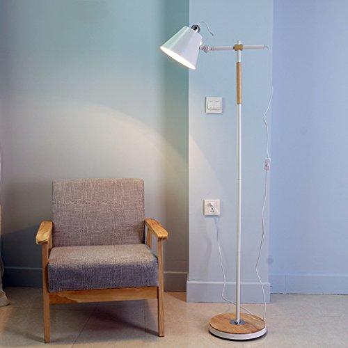 NAUY- Lámparas de pie Nordic Wood Art Creative Simple Salón Dormitorio Dormitorio Estudio LED Protección de los Ojos Vertical Lámpara Lámpara de pie Vertical Estilo Continental (Color : Blanco)