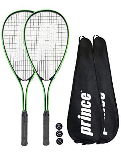 2 x Prince Power Beast Lot de 2 raquettes de Squash avec 3 balles de Squash