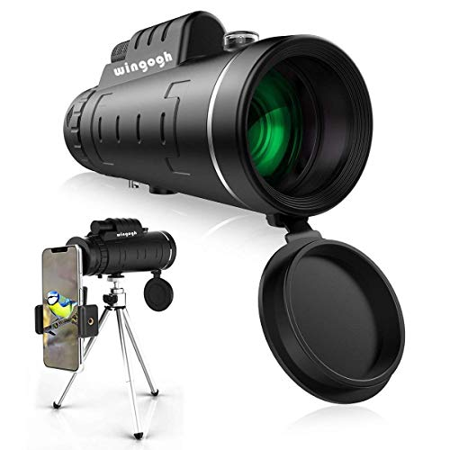 Monocular Telescope - 40x60 High Power HD Compact Monocular for Adults Kids, Night Vision Waterproof Scope with Smartphone Holder & Phone Tripod & BAK4 Prism FMC for Bird Watching Camping Hiking