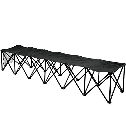 BenefitUSA 6 Seater Sideline Bench Portable Folding Team Sports Bench Sits Outdoor Waterproof- Black