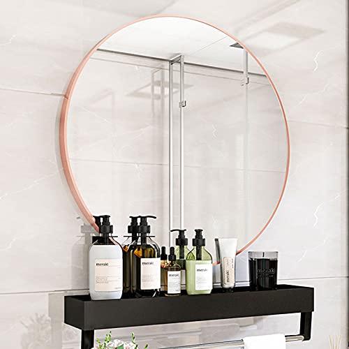 Espejo de baño redondo, espejo de pared redondo, borde de oro rosa, espejo de tocador grande, para pasillo, sala de estar, dormitorio, Ø 40/50/60/70 cm