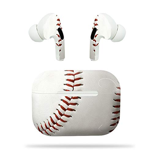 MightySkins Compatible with Apple Airpods Pro - Baseball   Protective, Durable, and Unique Vinyl Decal Wrap Cover   Easy to Apply, Remove, and Change Styles   Made in The USA (APAIPOPR-Baseball)