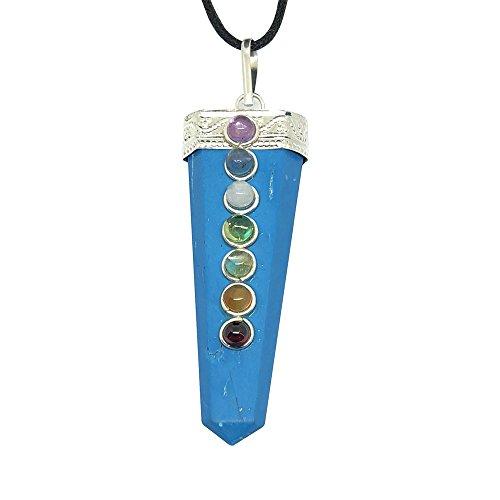 artigiano artigianale pietra preziosa naturale singolo punto chakra Pendant Necklace Genuine Handmade Jewellery eticamente dall' India inviati in retail Gift Box (turchese)