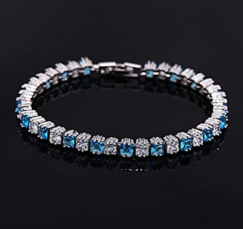 Bracelet For Women Elegant Princess Cut Light Blue Crystal Tennis Bracelets Bangles For Women Anniversary Wedding Jewelry Lightblue