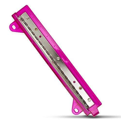 3 Hole Punch for Binders l Portable Paper Puncher with Ruler for Three Ring Folders (Pink)