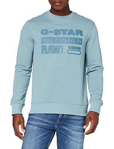 G-STAR RAW Mens Originals Logo Sweatshirt, Light Bright Nickel A613-C428, L