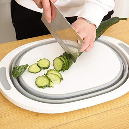 Piore Multifunctionele 3-in-1 opvouwbare snijplank Keuken Opvouwbare afvoermand Snijblokken Wasmand Keuken Organizer, rond, geen lekke opening