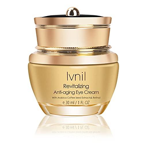 Ivnil Crème pour les Yeux Retinol,Crème anti-âge contour des yeux pour les cernes les rides et les poches à la vitamine C et à l'acide hyaluronique,30ml