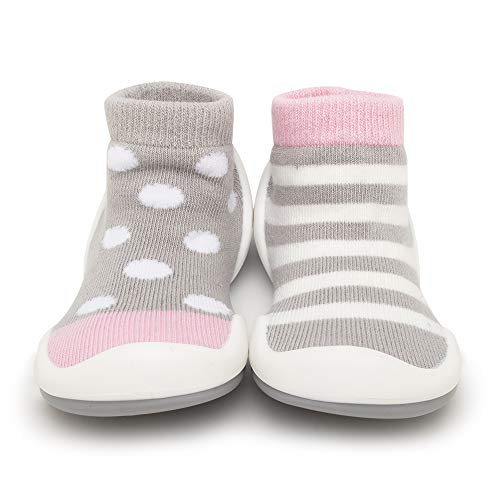 Komuello Girl Baby Toddler Pull up First Walker Non Slip Soft Cotton Premium Sock Shoes Dots & Stripes Toddler 6 (12-18 Months)