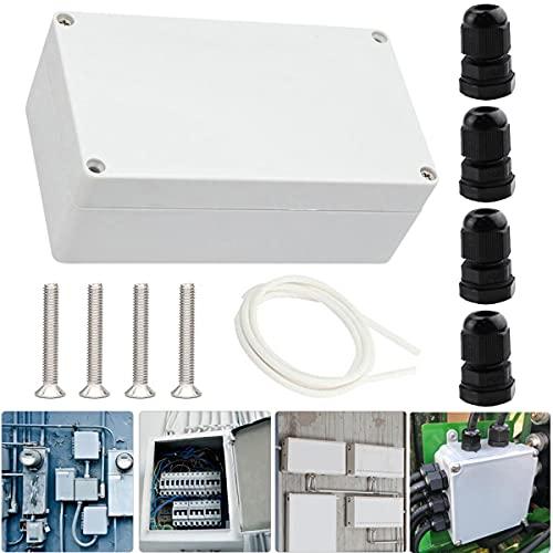 Youmile Electronic Project Box 200 x 120 x 56 mm Caja de empalme de plástico ABS IP65 a prueba de agua para empalme exterior con Prensaestopas PG7
