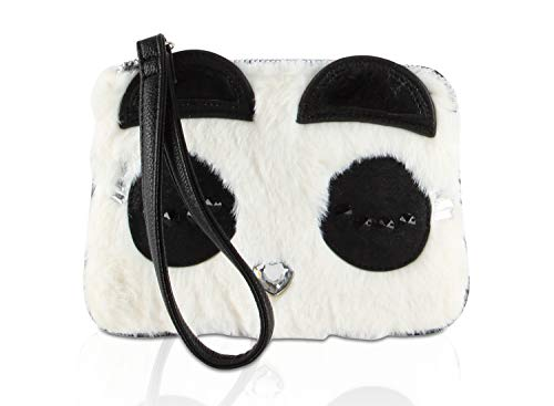 "Top Zip Closure, Wristlet handle strap 6"" drop hand drop Faux fur exterior with 3D embellished Kitsch Panda face details, Rhinestone heart Signature Lined Interior, 3 Credit card slots and zippered pocket, exterior Back slip pocket Mini coin accessor..."
