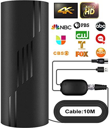 2021 Más Nuevo Desmontable Antena de TV Interior Exterior,380KM Antena de TV Digital con Amplificador Smart de Señal per DVB-T/DVB-T2,Antena de TV para 1080P 4K Canales Gratuitos Cable de 10M