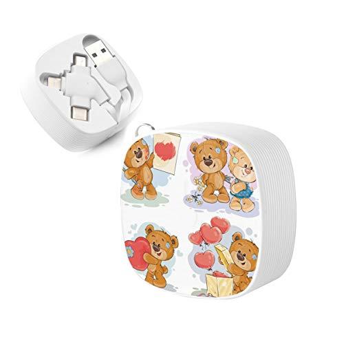 3 en 1 Multi Cable de carga Set Clip Art s Teddy Bears Cargador de teléfono USB múltiple con Micro USB para teléfonos celulares tabletas y más