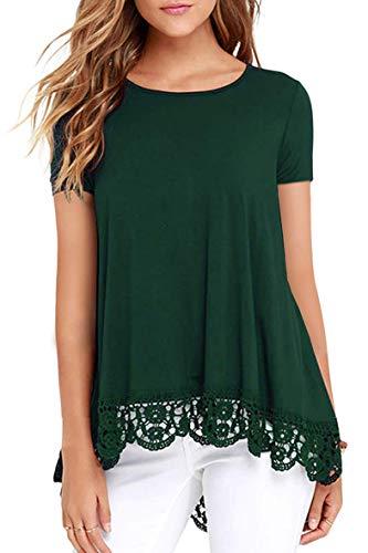 Odosalii Blusa de manga larga para mujer, elegante, para invierno, cuello redondo, encaje, túnica sexy, 01-verde., XL