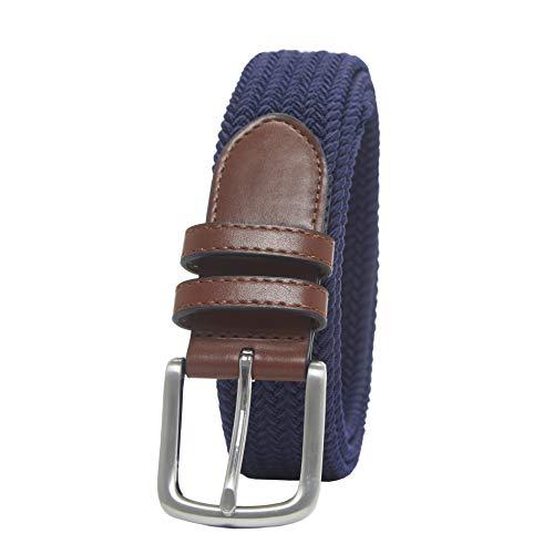 Amazon Essentials – Cinturón trenzado elástico para hombre, Azul (Navy 400), W36