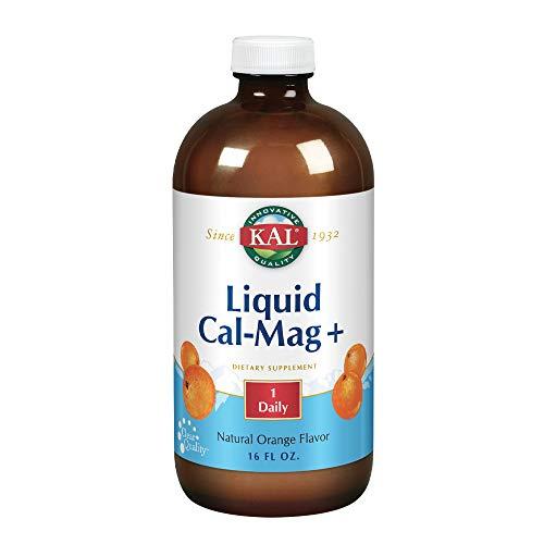 KAL Liquid Cal-Mag+ Vitamin D-3 | Natural Orange Flavor | Healthy Bones, Muscle & Heart Support | 30 Serv | 16 oz