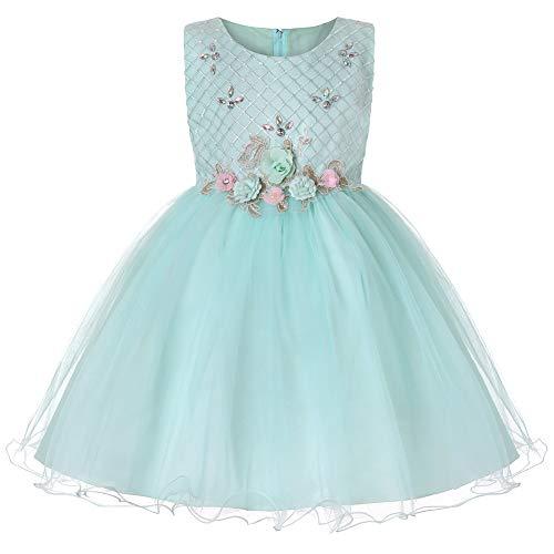 E-girl Vestido de tul para niña con flores C2006 verde 170 cm