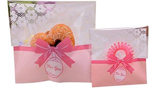 LAAT Sac de Bonbons Mignon Cravate Cookies Collations Bricolage Auto-adhésifs Cadeaux Sachets pour Mariage Anniversaire Noël Partie 100pcs