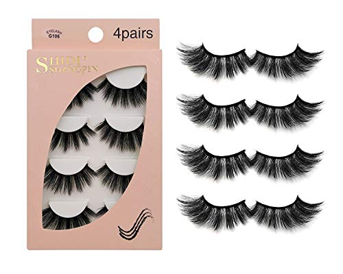 False Eyelashes 4 Pairs - Professional Reusable Face Eyelashes Fit for All Eyes, Natural Thick Hand-Made 3D Faux Mink Eyelashes for a Beautiful Makeup Look G106
