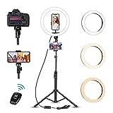 Luce ad Anello Led con Treppiede, Photry 12' Ring Light Dimmerabile Selfie Light Kit con 3 Modalità Colore e 10 Luminosità, Alimentazione USB per Makeup/Fotografia/Live Streaming