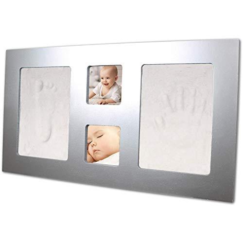 Happy Hands grand cadre photo & set d'empreintes de mains pour deux bébé mains ou empreintes de pieds (dimensions : 43 x 23,5 cm, manipulation facile, y compris pâte à modeler douce), argent