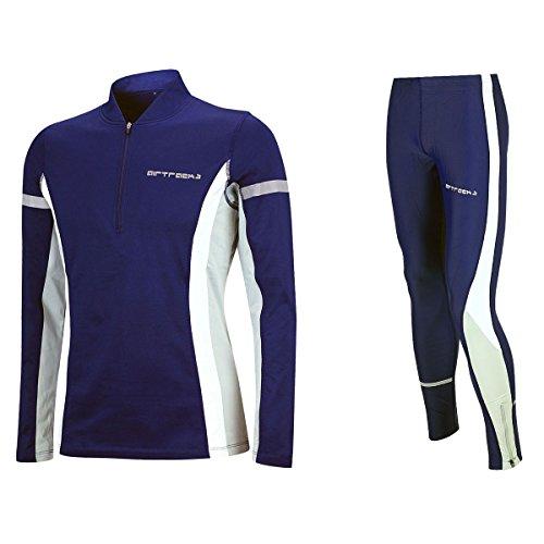 Airtracks Ensemble de course d'hiver, unisexe, pantalon thermique + T-shirt à manches longues thermique, respirant, réflecteurs, Homme, bleu, m
