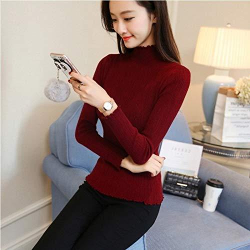DMUEZW Lente Vrouwen Dames Slim Fitting Gebreide Coltrui Gestreepte Sweater Femme Sweater Casual Kleding