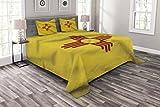 Colcha americana, bandera de los Estados Unidos de Nuevo México con el sol de la Zia en un campo ondeando, juego de colcha decorativa acolchada de 3 piezas con 2 fundas de almohada, amarillo rojo
