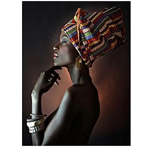 Domrx Mujer Africana India Diadema Retrato Lienzo Pintura Carteles e Impresiones Cuadro de Arte de Pared decoración de Sala de Estar 60x80cm / 23.6'x31.5 sin Marco