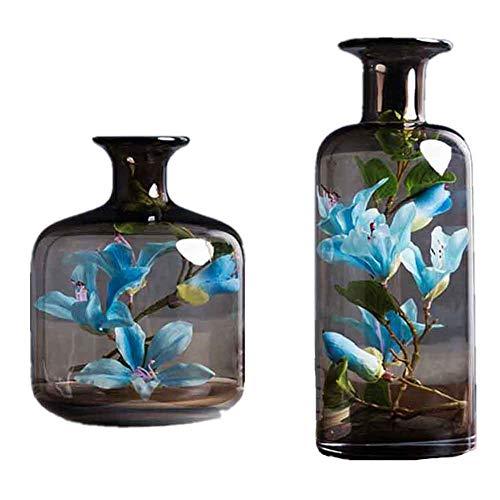 FYHJND Modern Minimalistisch Bruin Glas Vaas Creatieve Kunstmatige Decoratie Binnen Blauw Bauhinia Geschikt voor Home Slaapkamer Theetafel Wijnkast Decoratie Gift