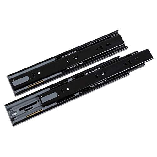 L-DREAM Guías para Cajones Diseño de Riel de Tres Secciones Riel de Acero Laminado en Frío (Color : Black, Size : 50cm)