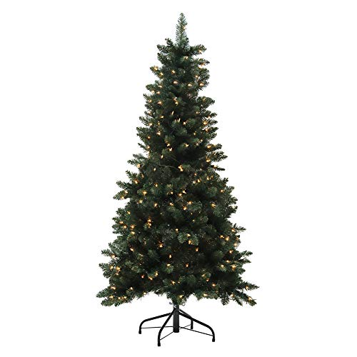 ABBLE 5 Ft Pre-Lit Artificial Christmas Tree with Metal Stand X'mas Spruce Tree with 300 LED Lights for Indoor Holiday Decoration,Easy Assembly,Solid,488 Tips,Plastic Hinged Type,Dark Green