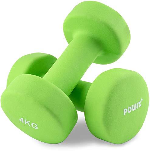 POWRX - Manubri Pesi Neoprene 8 kg Set (2 x 4 kg) + PDF Workout (Verde Chiaro)