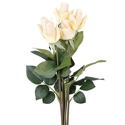 TININNA 5 Bouquets Rose Artificielle Fleur Réel Touch Hydratant Décoration Fleurs pour Fête Noce Décoration Champagne