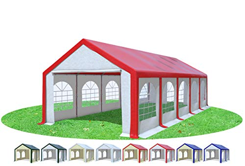 Stabilezelte Partyzelt 4x10m Modular Professional PVC 500 g/m² mit Fenster ROT Weiss