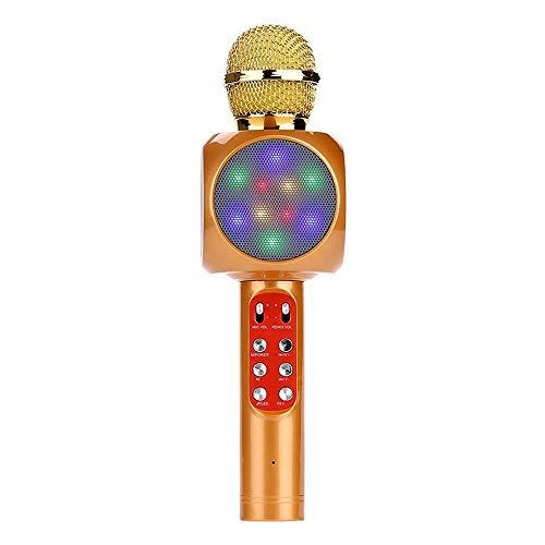 LVYI Micrófono inalámbrico, deslumbrantes luces de colores, Sing It, Micrófono Nacional Karaoke, Karaoke móvil Micrófono condensador (Color : Yellow)
