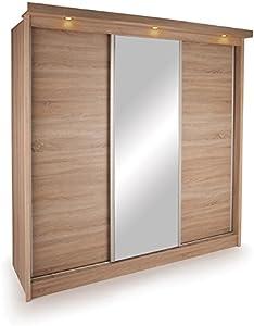 Ideal Ohio 3 Door Sliding Wardrobe 210 CM wide Mirror & LED Lights - Slider - Oak - 2.1M Tall