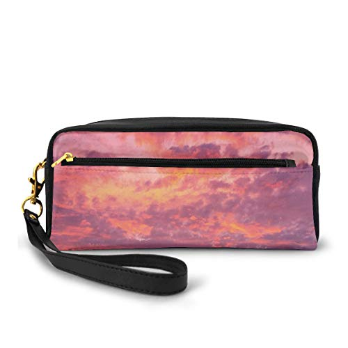 Pencil Case Pen Bag Pouch Stationary,Sunset Photography with Clouded Weather Tropical Scenic Hawaii Tranquility,Small Makeup Bag Coin Purse