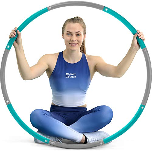 Core Balance Weighted Hula Hoop For Adults Large Adjustable Padded 1kg 98cm (Smooth, Teal)
